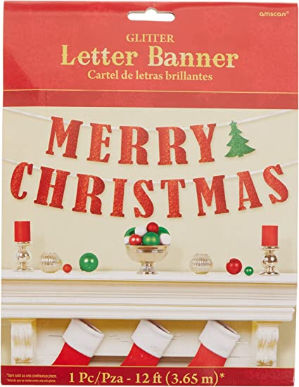 1PC Merry Christmas Banner Bunting Garland Hanging Santa XMAS Party Decoration