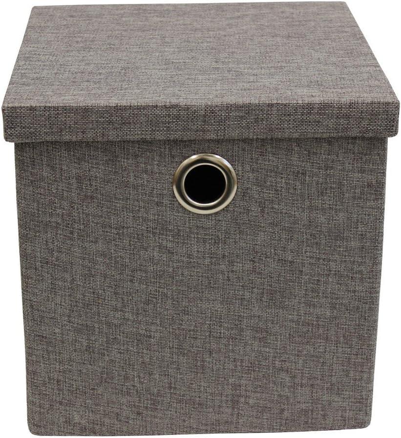 JVL – Bolsa Plegable con Tapa Caja de Almacenamiento de Tela con Asas de Cromo, Gris Oscuro, Multi Color: Amazon.es ...