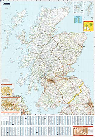 Large Laminated Wall Map Of Scotland By Michelin Amazoncouk - Large wall map of uk