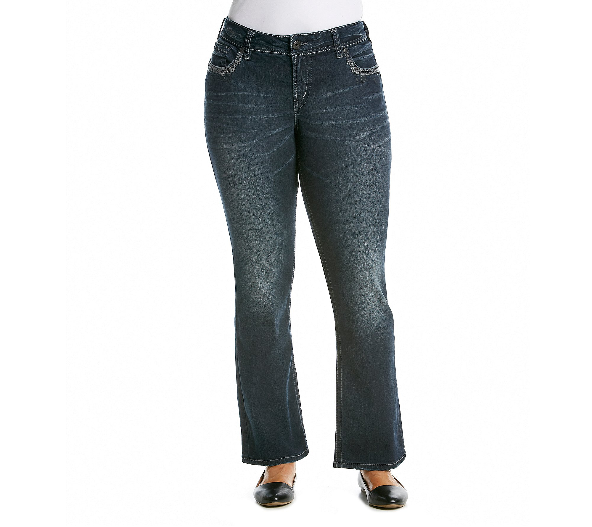 Silver Jeans Women's Plus-Size Suki Mid Rise Super Stretch Bootcut Jean, Indigo, 18x33