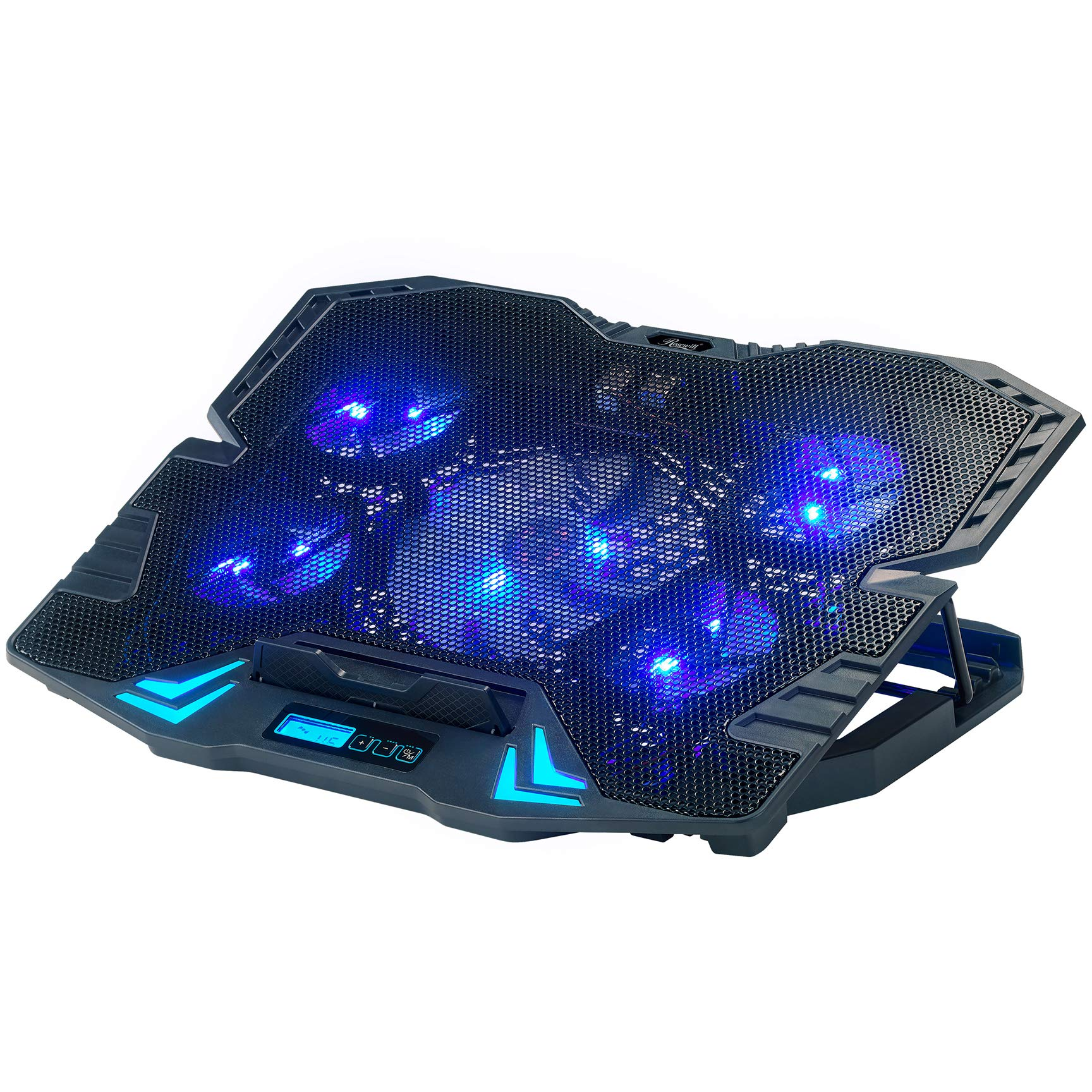 Rosewill Gaming Laptop Cooler Notebook Cooling Pad, 5 Silent Blue LED Fans w/Powerful Air Flow, Control Panel w/LCD Screen, Portable Height Adjustable Laptop Stand, Comfortable for Wrists