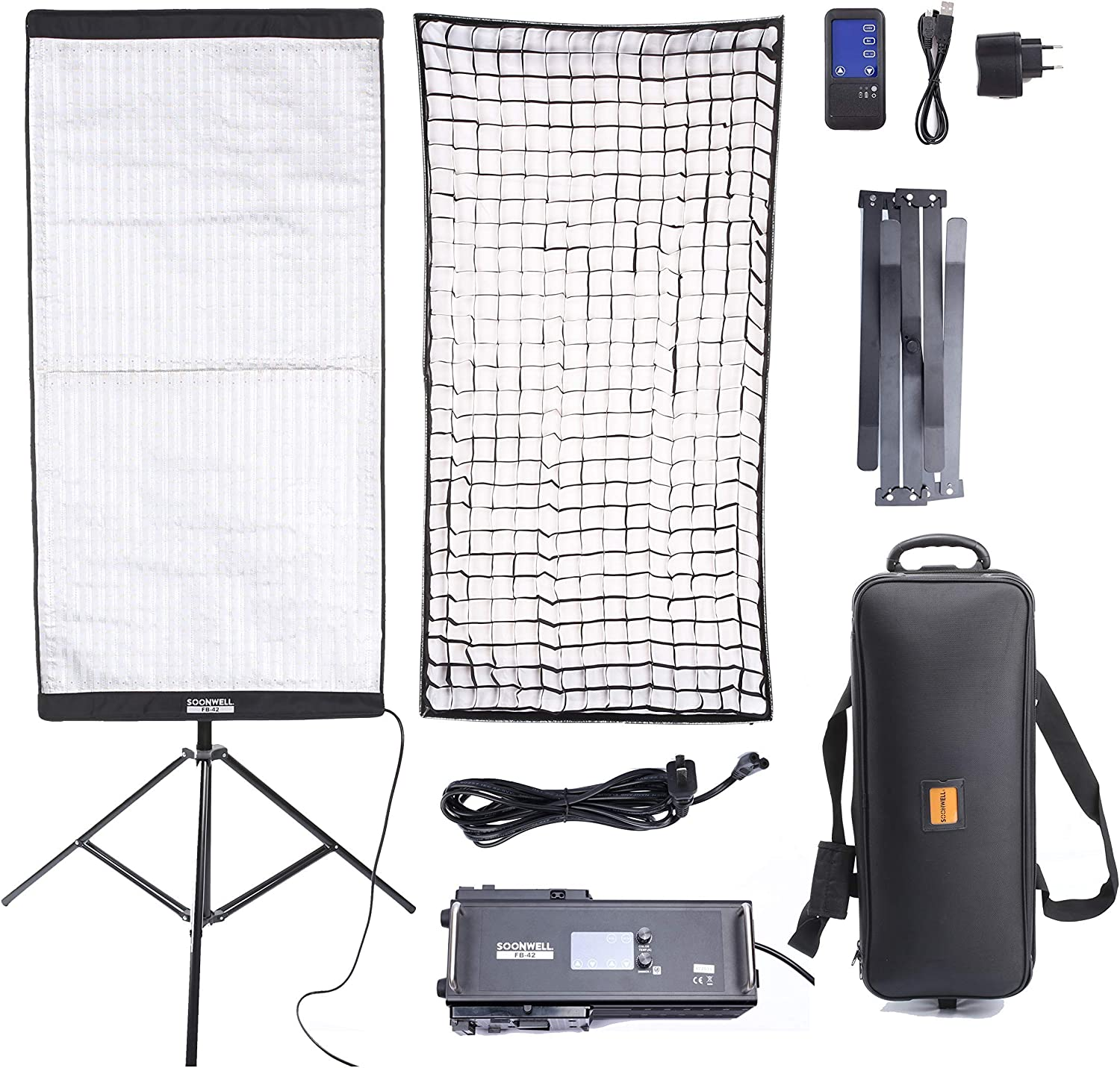 SOONWELL 4x2 ft Bi-Color Oversize LED Light Panel Mat,300W Flexible Photography LED Camera Video Studio Digital Light Panel with Touch LCD Panel Remote Controller 3000K-5600K