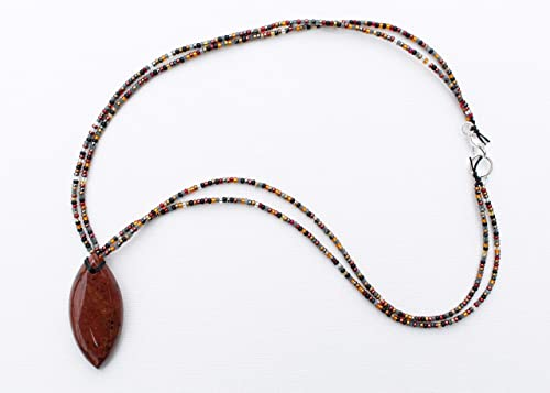 Handmade Mahogany Obsidian Gemstone Heart Necklace Choker