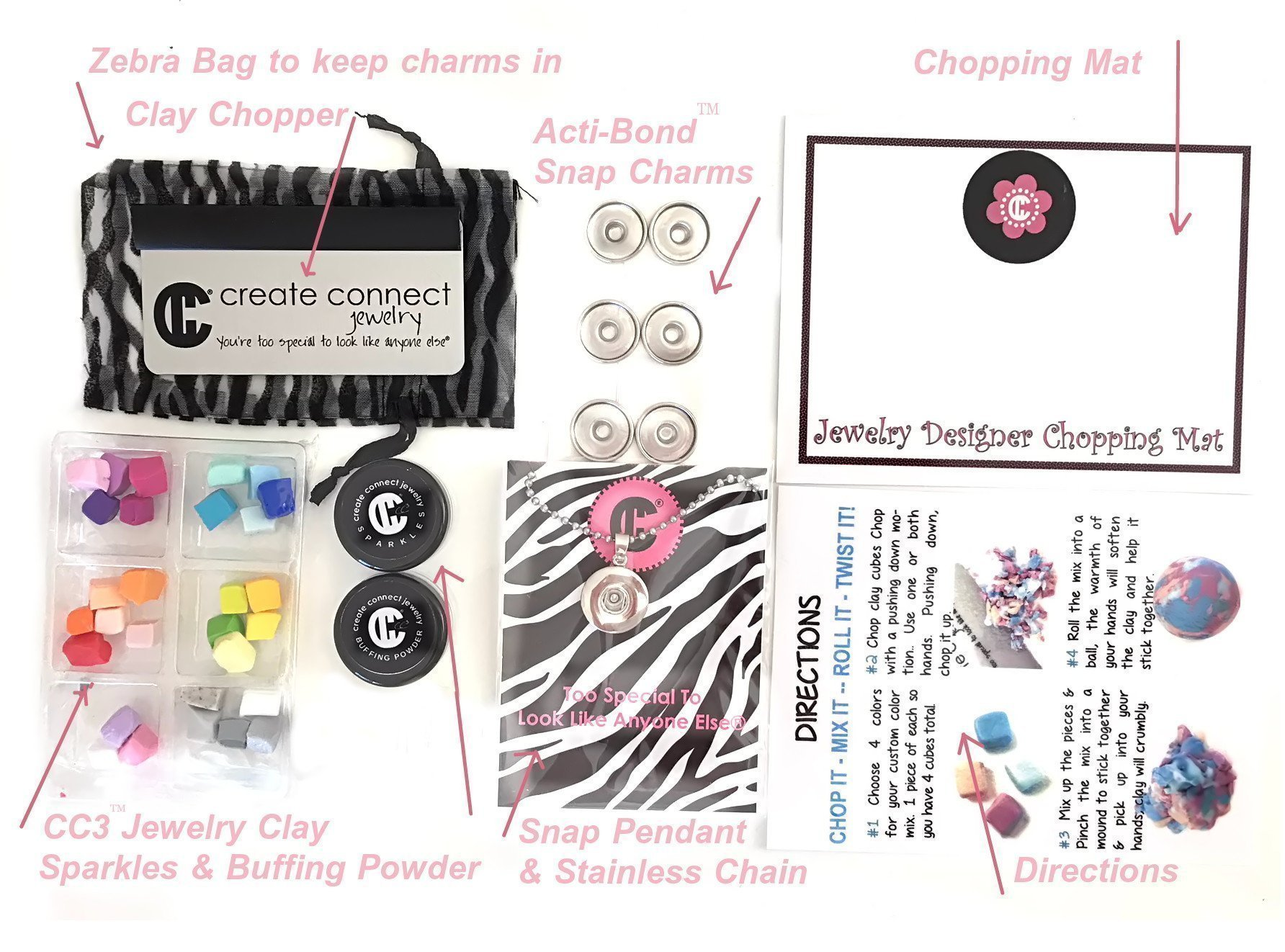 Girl's DIY Designer Jewelry Making Kit with Snap Charms & Clay from my Award Winning Studio
