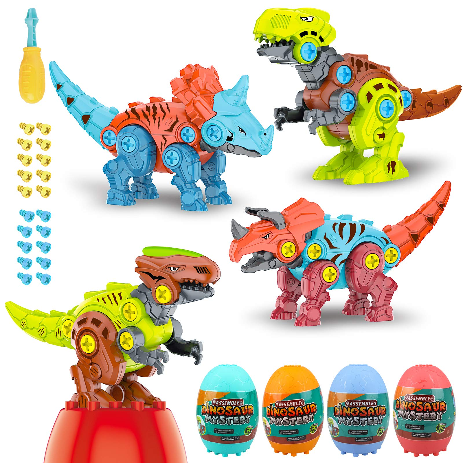 SJFEEVOR Dinosaur Easter Eggs with Take Apart Dinosaur Toys for Kids 3-5