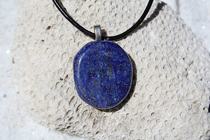 Lapis Lazuli Pencil Pendant on Black Wax Cord Necklace