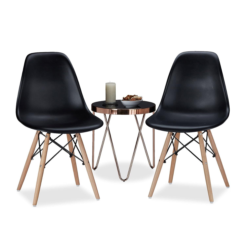 Relaxdays Chaise salle à manger design retro noire ARVID lot de 2 moderne cuisine HxlxP: 82 x 47 x 55 cm - noir