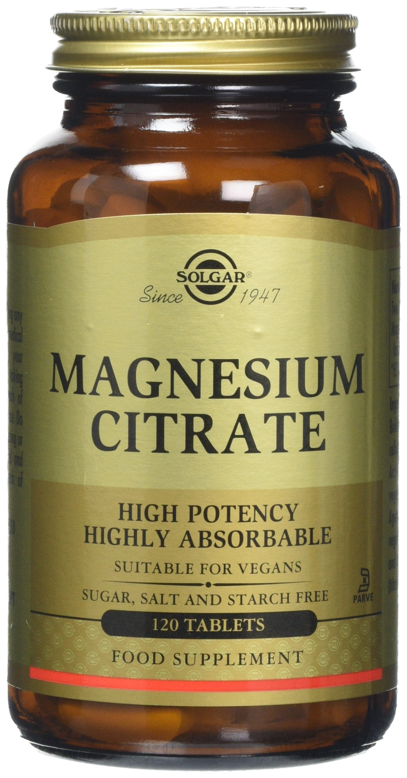 Solgar 400mg Magnesium Citrate Highly Absorbable Dietary Supplement 120 Tablets