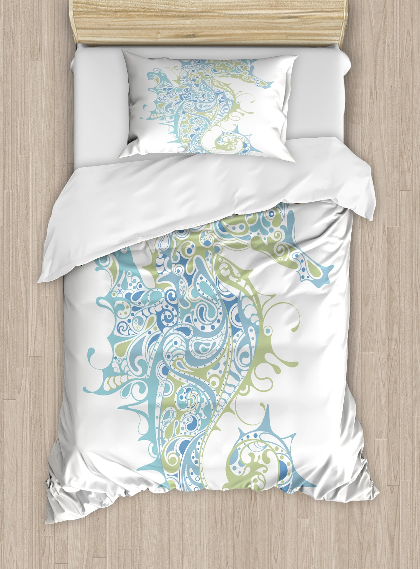 Ambesonne Animal Duvet Cover Set Twin Size, Greek Culture Art Textured Ancient Seahorse Idol Spiritual Life Cycle Artwork, Decorative 2 Piece Bedding Set with 1 Pillow Sham, Pale Blue Green