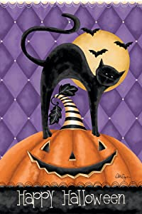 "Lang - Mini Garden Flag - Happy Halloween, Exclusive Artwork by Lori Lynn Simms - All-Weather, Fade-Resistant Polyester - 12"" w x 18"" h"