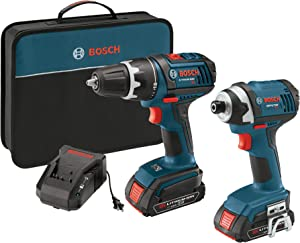 Bosch CLPK234-181 18-Volt Lithium-Ion 2-Tool Combo Kit with 1/2-Inch Compact Tough Drill/Driver, Impact Driver, 2 High Capacity Batteries, Charger and Case