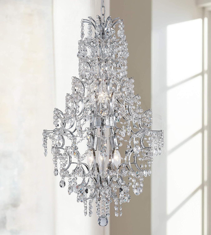 Modern Pendant Chandelier Crystal Raindrop Lighting Ceiling Light Fixture Lamp for Dining Room Bathroom Bedroom Livingroom 6 E12 Bulbs Required D17 in x H31 in