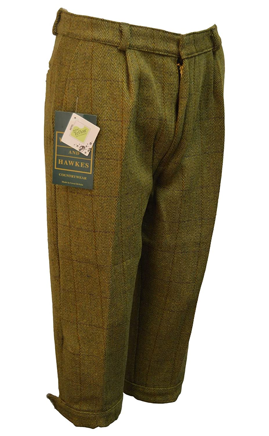 Vintage High Waisted Trousers, Sailor Pants, Jeans Walker & Hawkes - Mens Derby Tweed Shooting Plus Fours LONG Breeks Trousers - Light Sage - 32-42 $76.99 AT vintagedancer.com