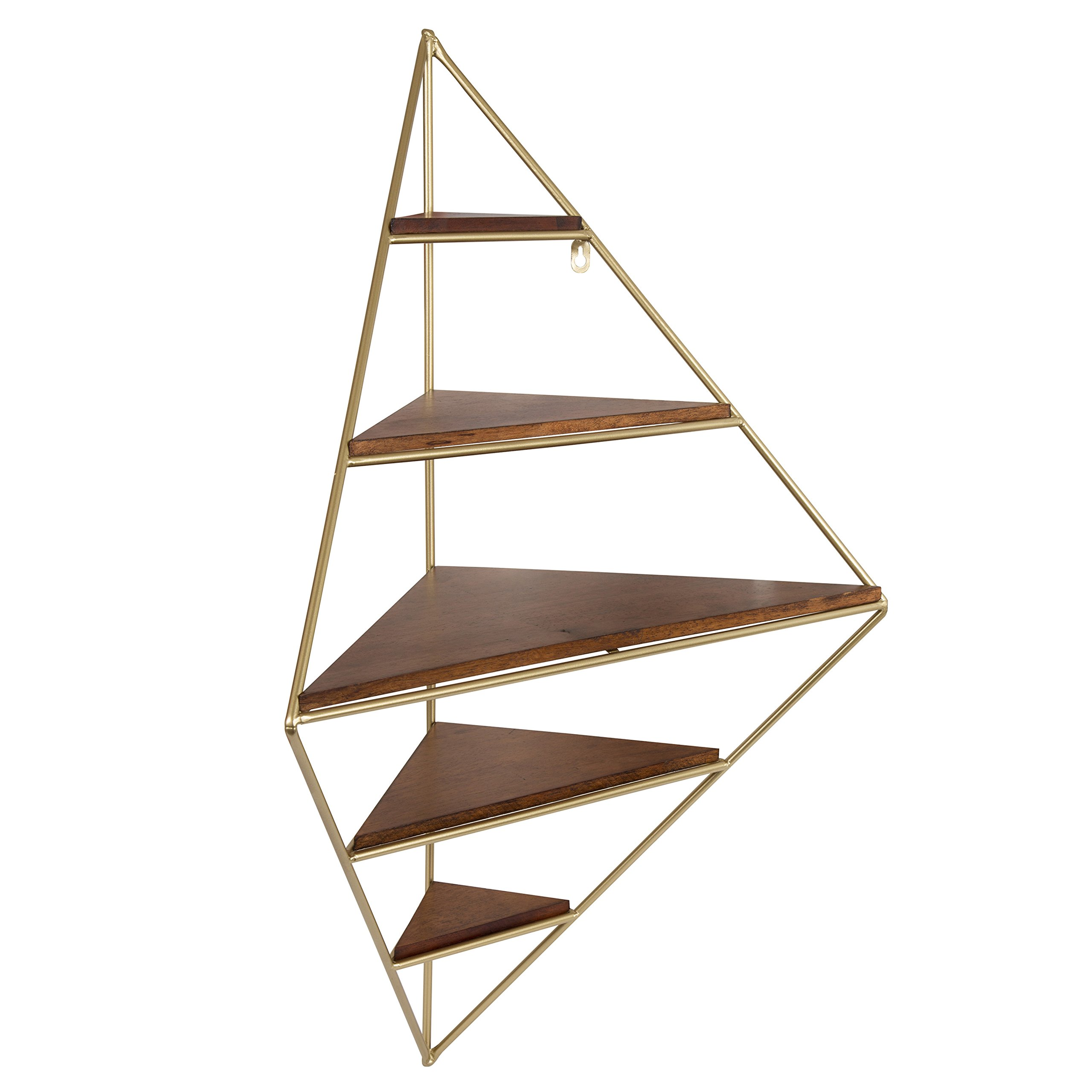 Kate and Laurel 213056 Melora Decorative Mid Century Modern Corner Wall Shelf with Gold Frame and Solid Wood Shelves Walnut Finish 5