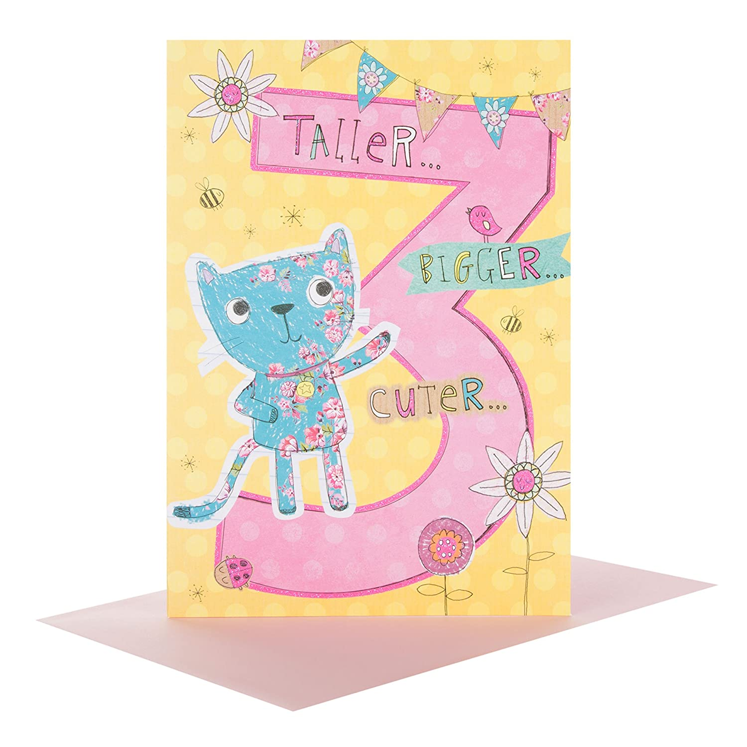 Amazon Hallmark Kids Age 3rd Birthday Greeting Card 3 Today New Gift Girl Kitchen Dining