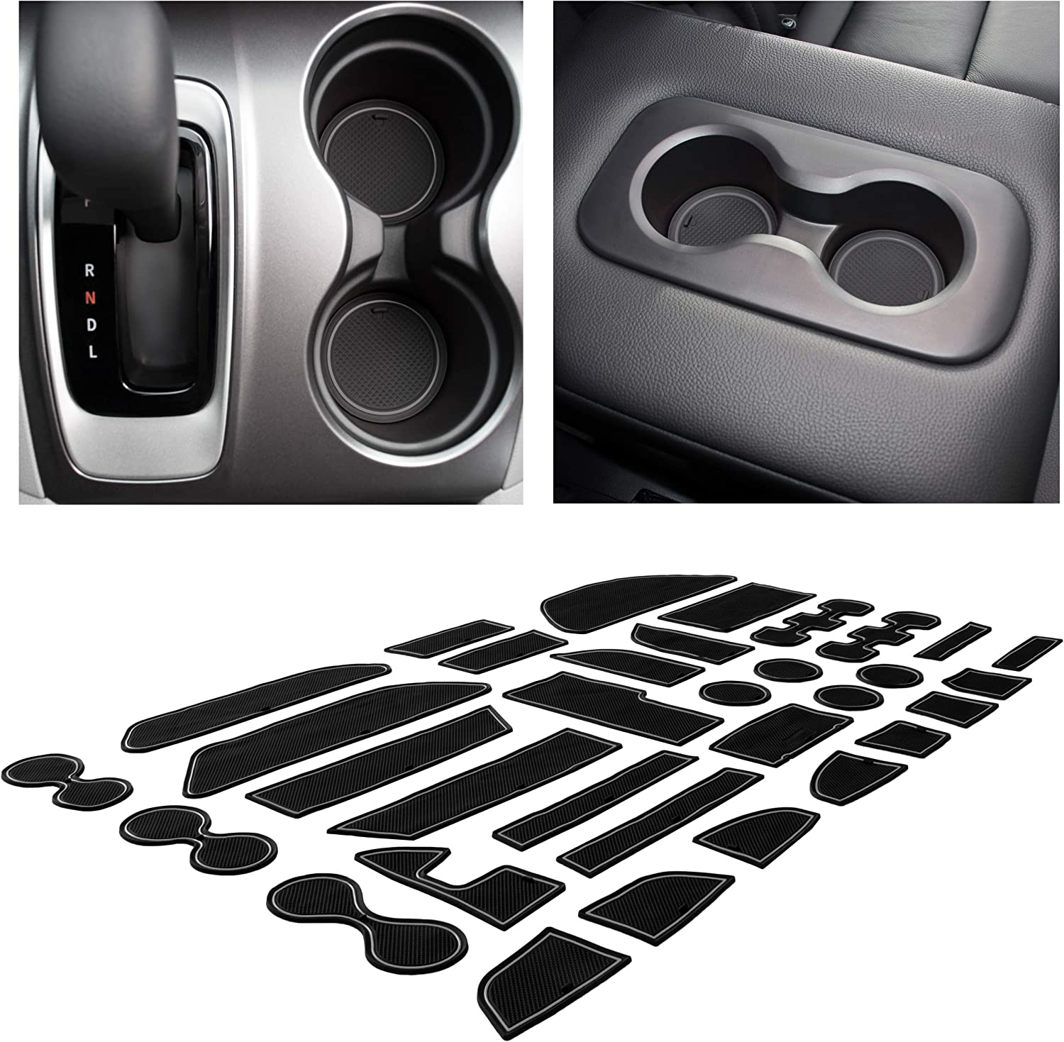 Door Pocket Liners 16-pc Set CupHolderHero Compatible with Toyota Prius Accessories 2016-2018 Premium Custom Interior Non-Slip Anti Dust Cup Holder Inserts Solid Black Center Console Liner Mats