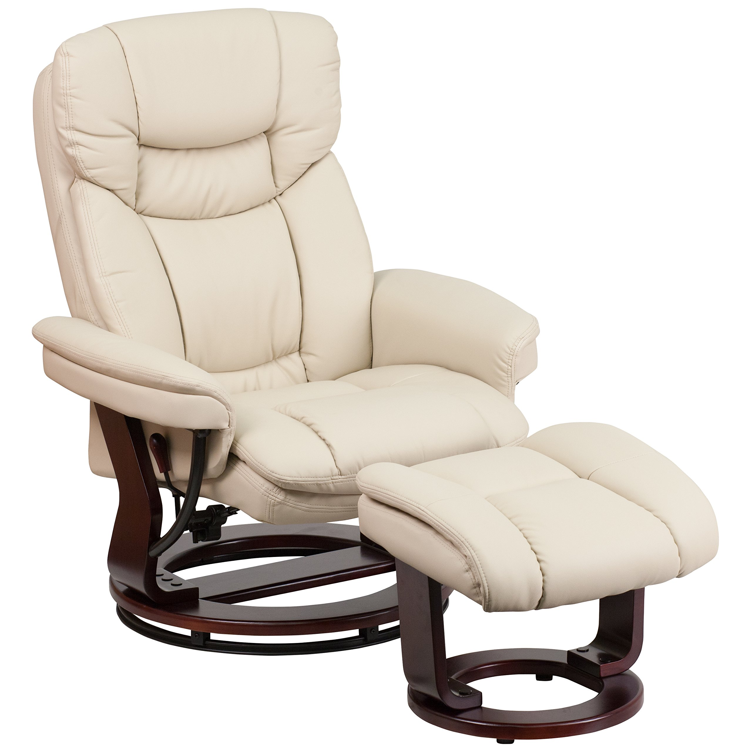 Superbe Flash Furniture Contemporary Beige Leather Recliner And Ottoman With  Swiveling Mahogany Wood Base