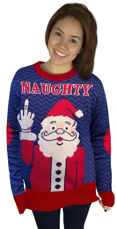 78b68a1c Amazon.com: FunQi Naughty Santa Ugly Christmas Sweater: Clothing