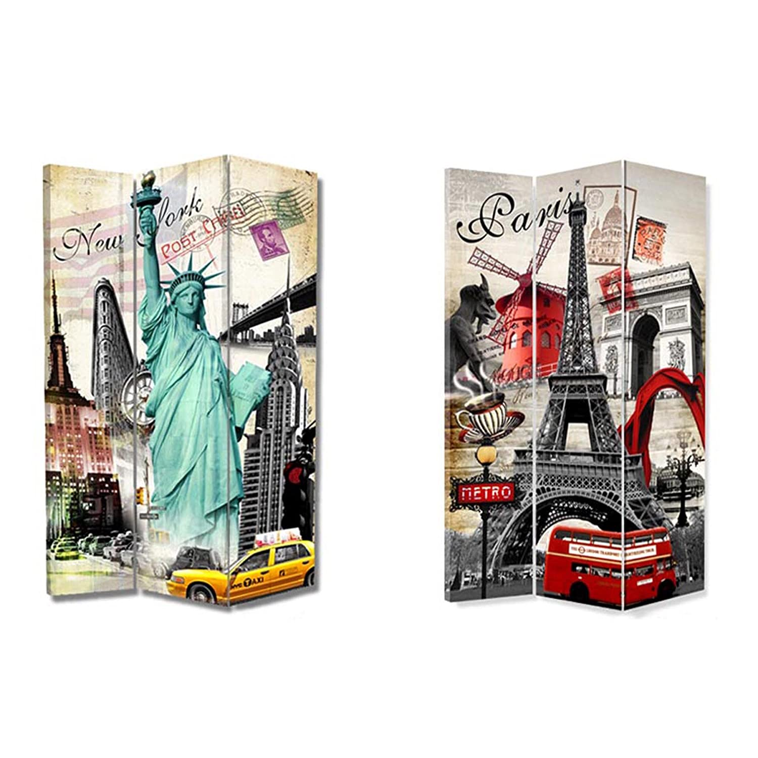Lillyvale 6FT Tall 3 Panel 2 Fold Moulin Rouge & New York Room Divider Canvas Dressing Screen From