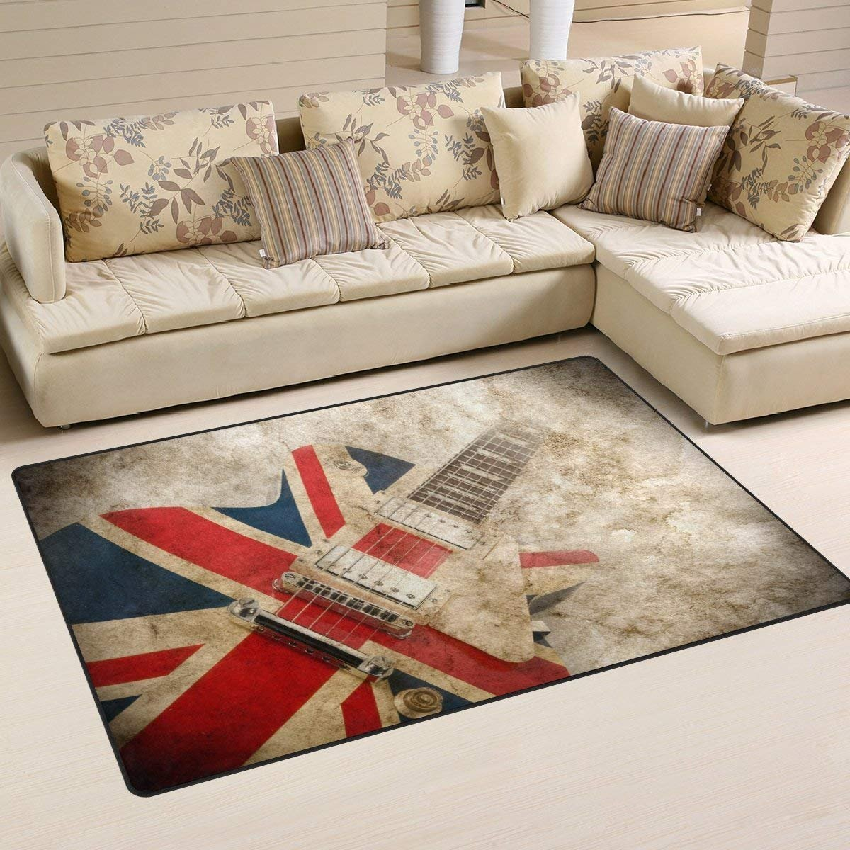 Grunge Union Jack British Guitar Area Rug Rugs Non-Slip Floor Mat Doormats Living Room Bedroom 16 x 24 inches Cuitae