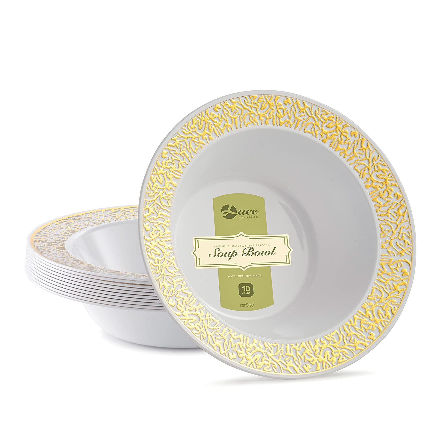 LACE PLASTIC PARTY DISPOSABLE PLATES | 6 Inch Hard Round Wedding Dessert Plates | White with Gold Rim, 40 Pack | Elegant & Fancy Heavy Duty Party Supplies Plates for all Holidays & Occasions Prestee