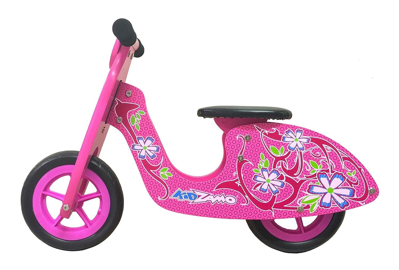ATALA Bicicleta de niña Tipo Strider (Sin Pedales) kidzamo Scooter Color Rosa con Adornos Florales (3 – 6 años)