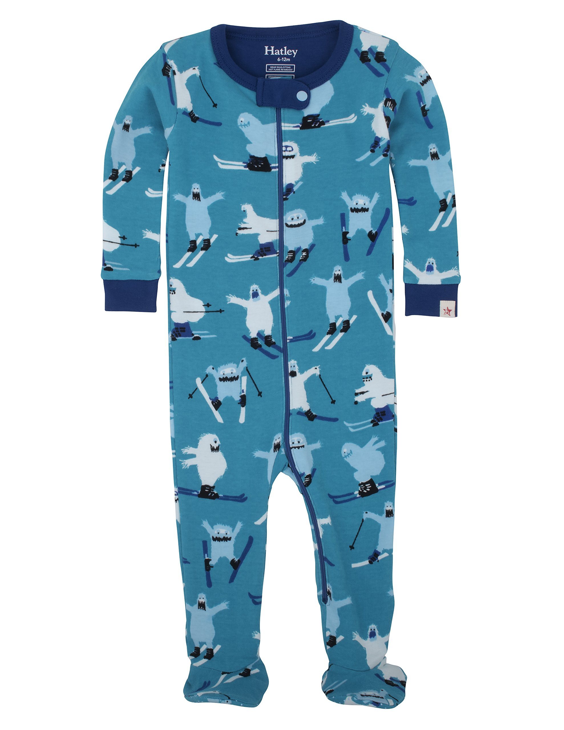 Hatley Boys' Footed Coverall, Ski Monsters, 3-6