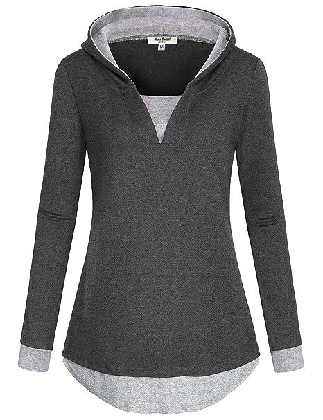 Blusa y blusas para mujer, Anna Smith V Sudaderas con capucha de algodón Sudadera con