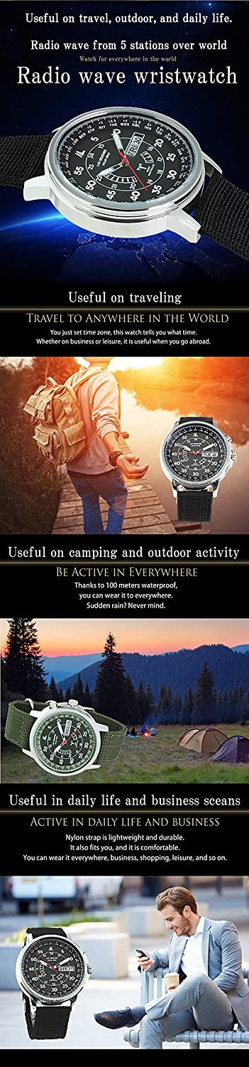 Amazon.com: LAD-WEATHER Radio-Controlled-Watch Multi-Timezone Solar-Powered Battery-Rechargeable: Watches