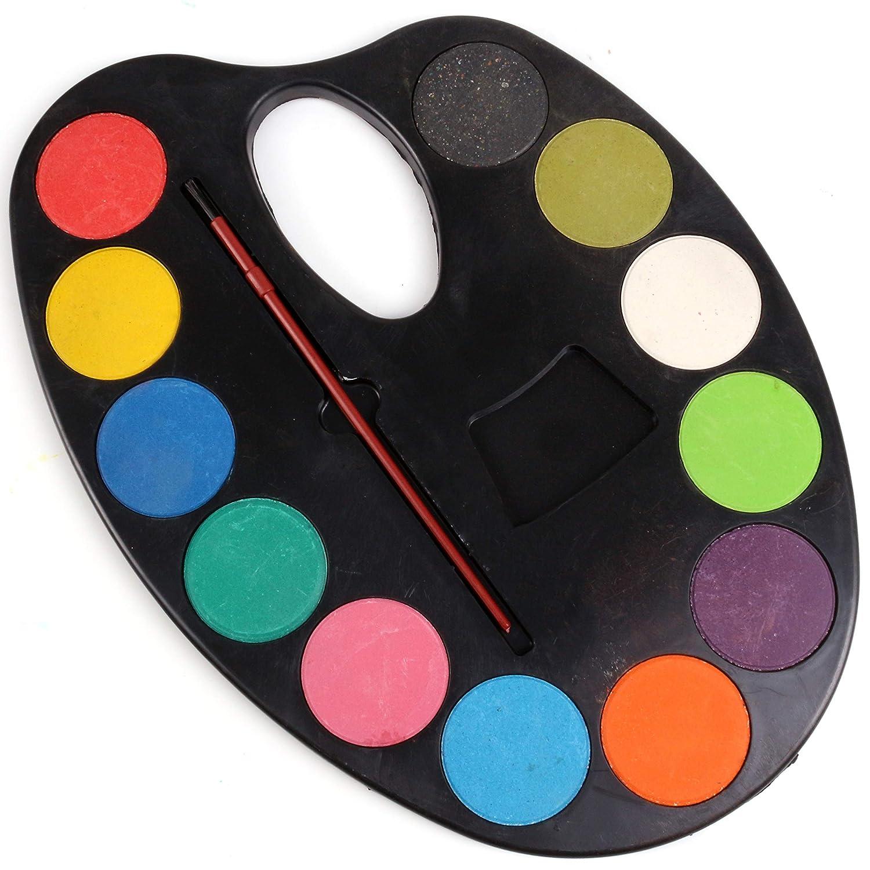 White Hinge Kids Non Toxic Art Palette 12 Watercolour Paints & Brush Set Children's School Craft Kit
