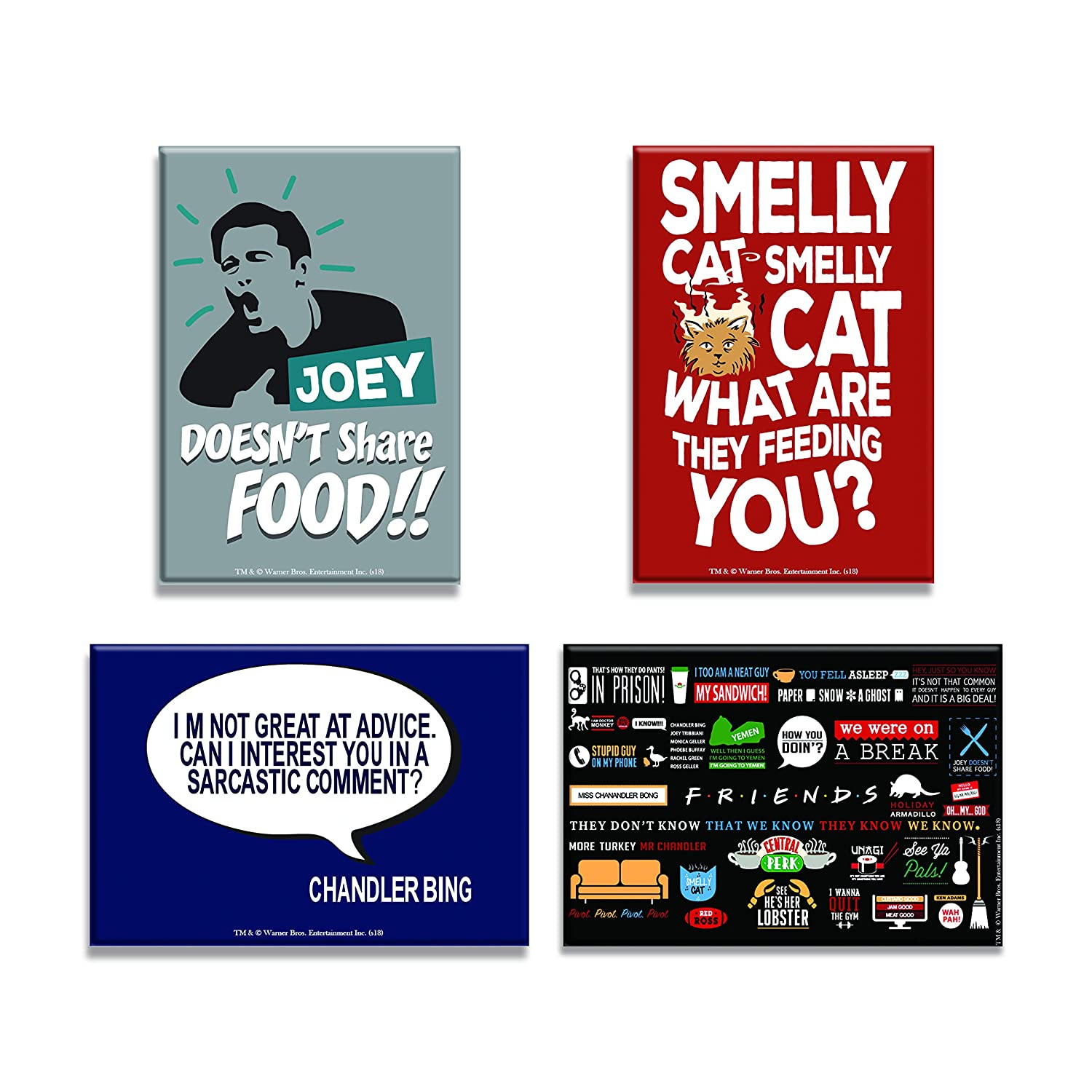 Mc Sid Razz Friends TV Series Combo Pack Of 4 Rectangular Fridge Magnet Smelly Cat Chandler Infographic Joey Doesnt Share Food Gift Set Birthday