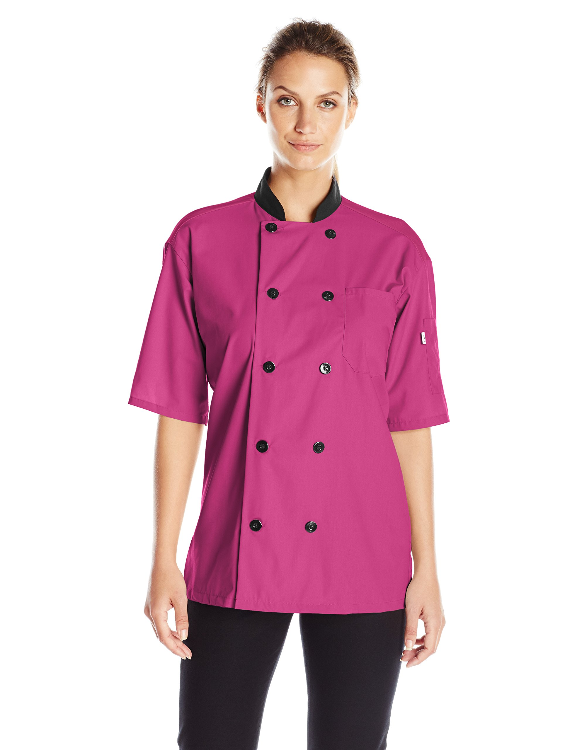 Uncommon Threads Unisex Havana Chef Coat Ss Mesh Blk TRM, Berry, Small