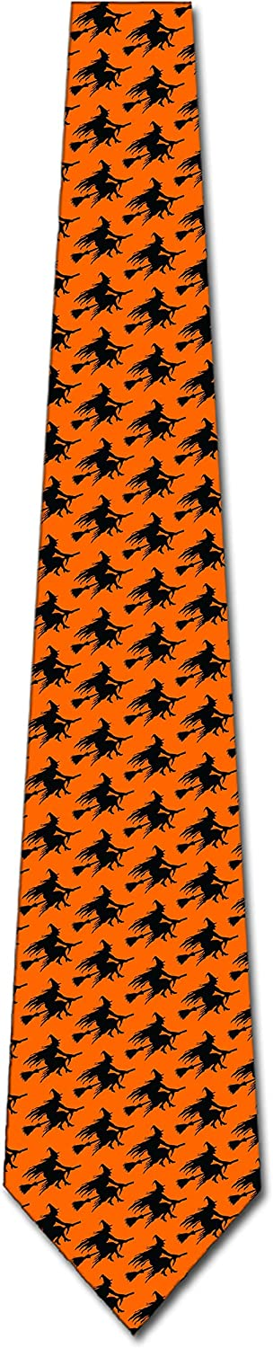 Flying Witch Silhouette Repeat Ties Halloween Tie Men/'s Orange Ties Brand New