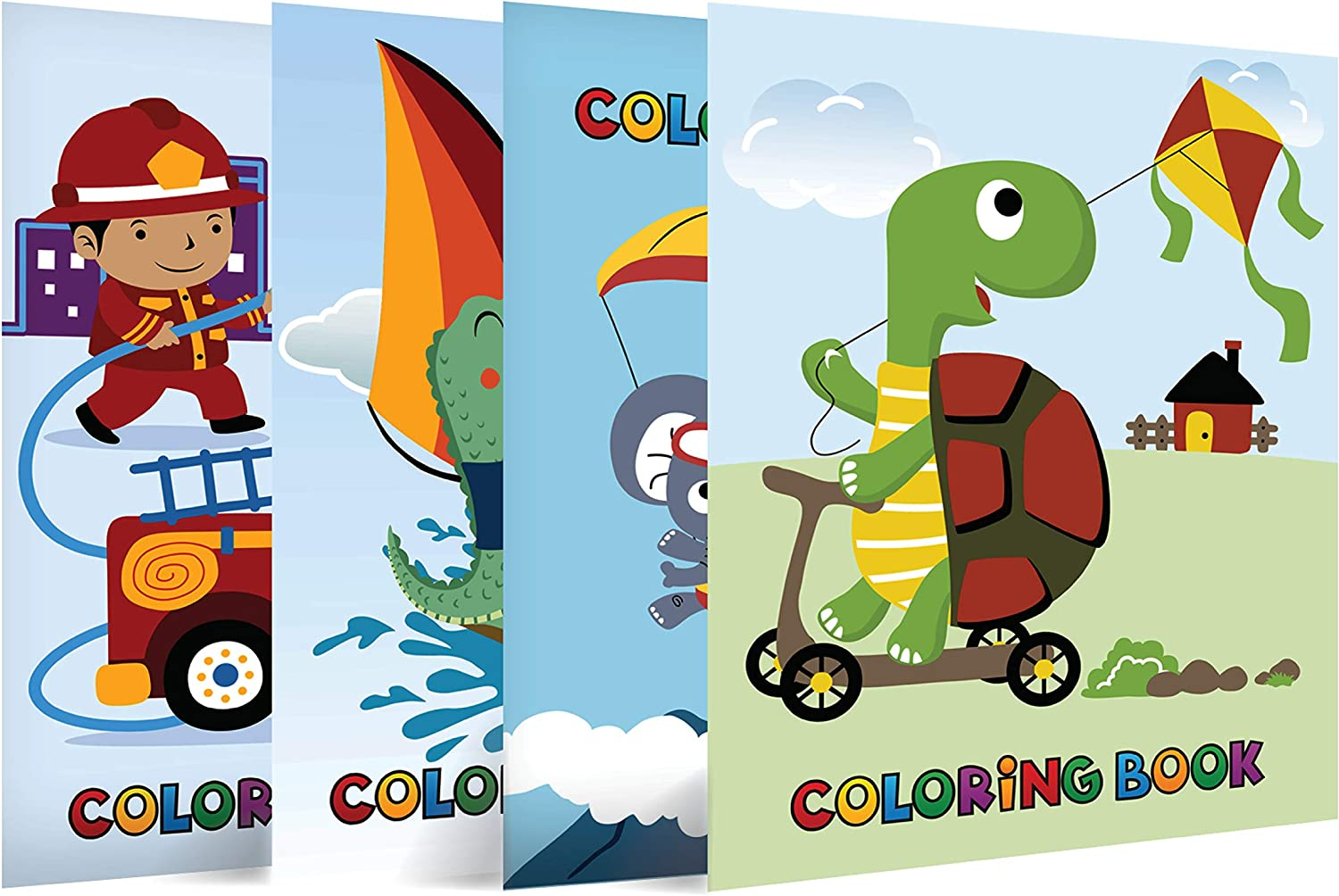 Neliblu Epic Coloring Books for Kids - Pack of 4 - 8