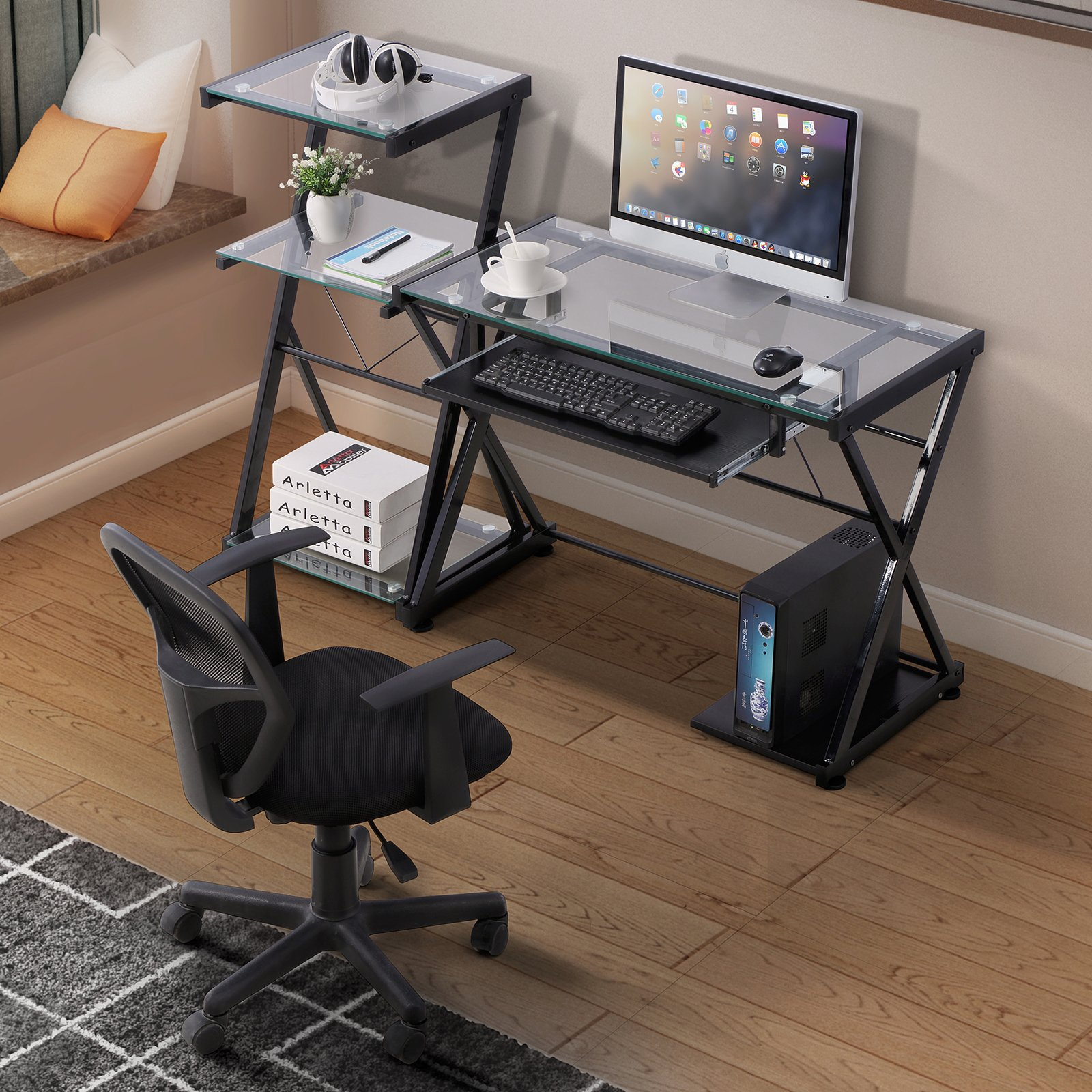 Home Office PC Laptop Table Corner With 4 Shelve Bookcase Panana Computer Desk