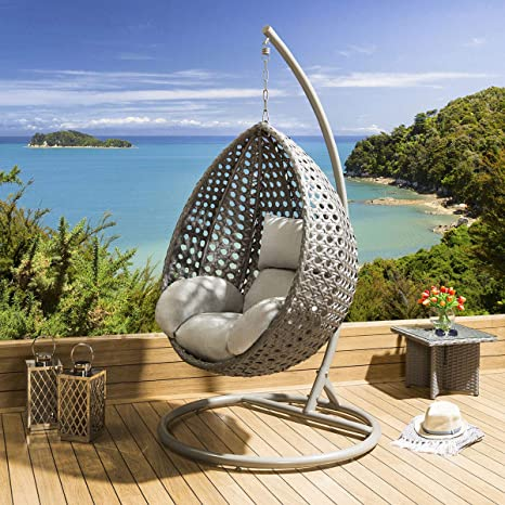 Peachy Extra Large Outdoor Garden Hanging Pod Egg Chair Grey Rattan Caraccident5 Cool Chair Designs And Ideas Caraccident5Info