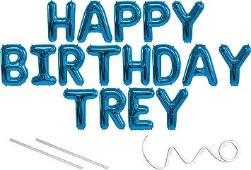 Amazon.com: Trey, feliz cumpleaños Mylar globo Banner – 16 ...