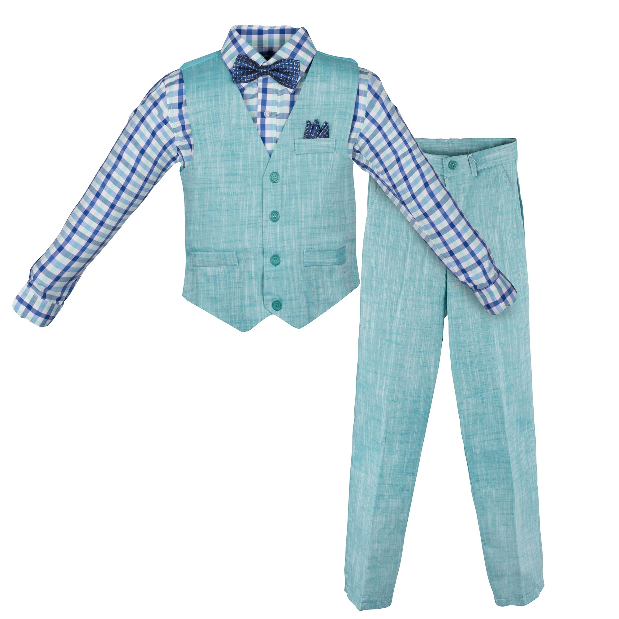 Vittorino Boy's Linen Look 4 Piece Suit Set With Vest Pants Shirt and Tie, Teal, 8