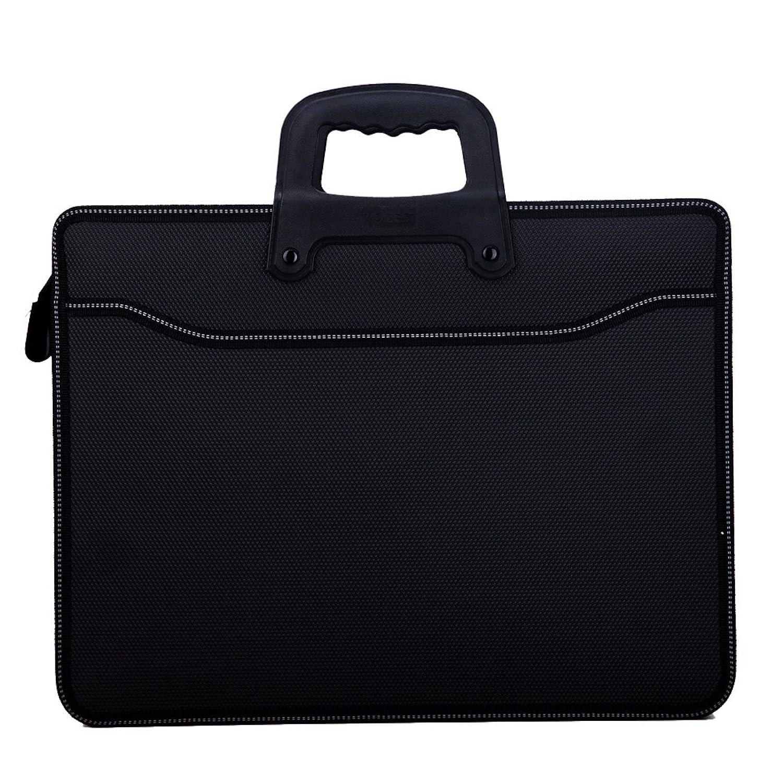 Elonglin, borsa business a valigetta porta documenti a mano, per documenti di formato A4, per ufficio commerciale, colore nero Nero EL.BB0456