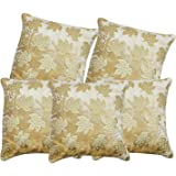 S N TRADERS Gold Embossed Tree Leaves Abstract Floral Design Velvet Cushion Covers (Beige, 16x16 Inches) - Set of 5