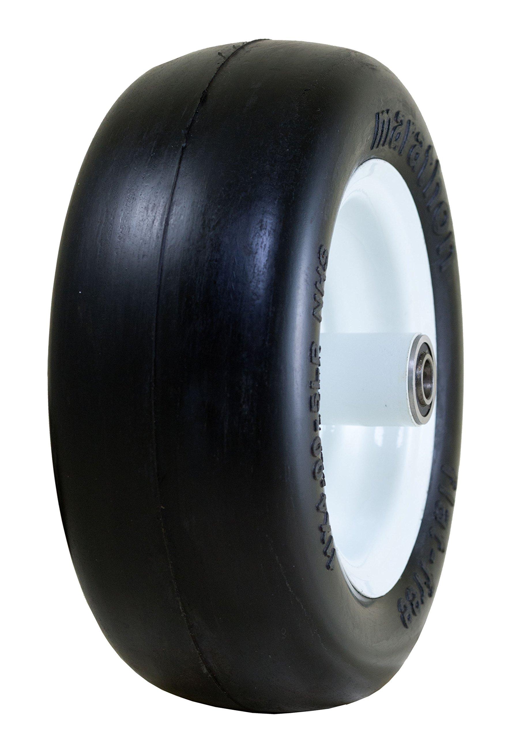 Marathon 11x4.00-5'' Flat Free Tire on Wheel, 5'' Centered Hub, 3/4'' Bearings
