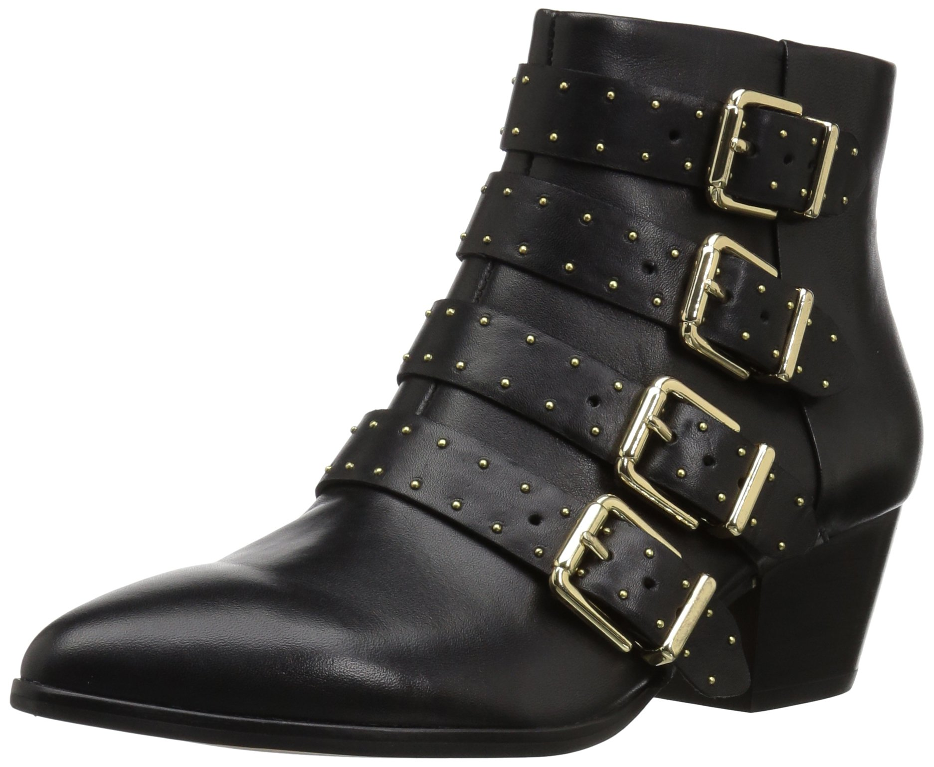 The Fix Women's Hazel 4-Buckle Strap Ankle Boot, Black, 8 B US
