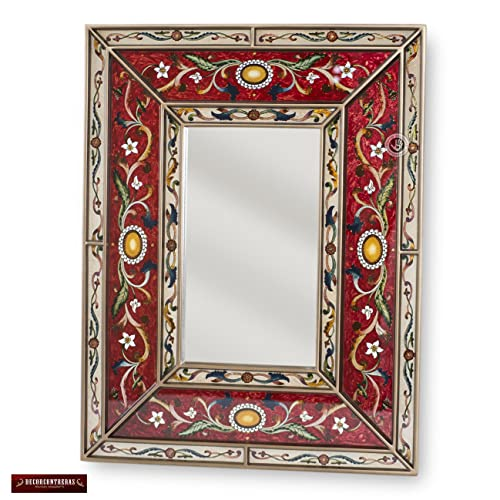 rectangular decorative mirror big living room wall peruvian red decorative mirror arts crafts large mirror for wall hand painted glass wood amazoncom
