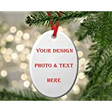Halloween Cemetery bat Luxcase Custom Fashion Personalized Oval Porcelain Ornaments Christmas Ornaments Home Decoration