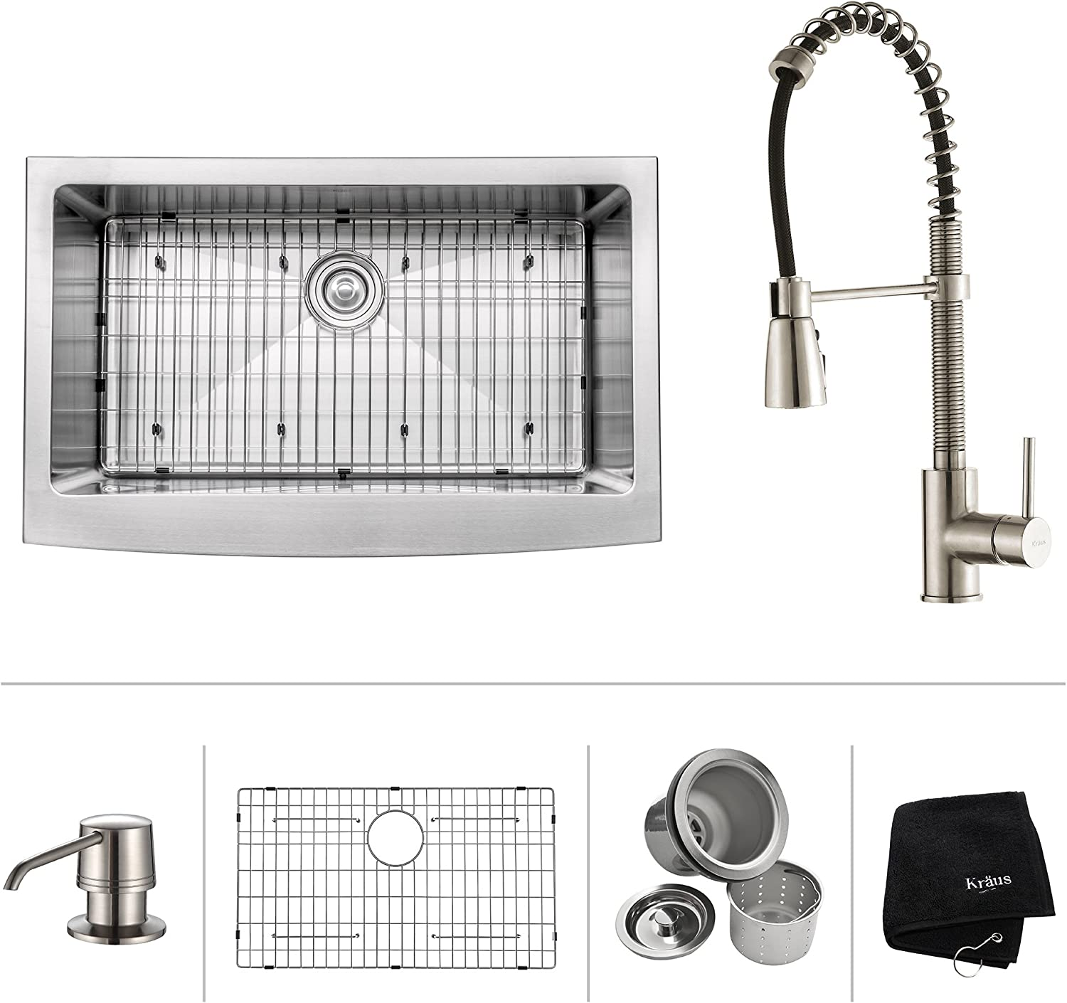 Kraus Khf200 33 Kpf1612 Ksd30ss 33 Farmhouse Single Bowl Stainless Steel Kitchen Sink With Stainless Steel Finish Kitchen Faucet And Soap Dispenser Amazon Com