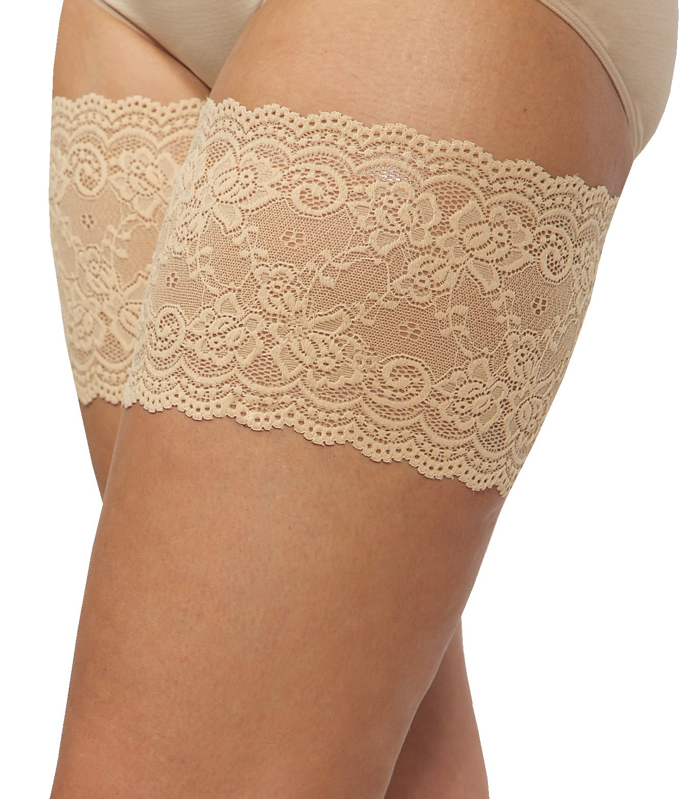 Bandelettes Elastic Anti-Chafing Thigh Bands - Prevent Thigh Chafing - Beige Onyx, Size B