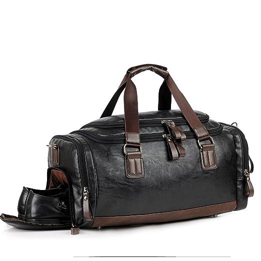 Leather Gym Bag for Men Travel Weekender Overnight Duffel Bag Tote For Men  (balck) ed96052ec3