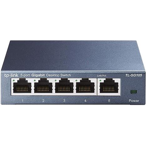 TP-Link 5 Port Gigabit Ethernet Network Switch   Ethernet Splitter   Sturdy  Metal w/ Shielded Ports   Plug-and-Play   Traffic Optimization   Unmanaged