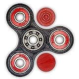 Hand Spinner Fidget Black, ABEC 9 Center, Red External Bearings, Caps, 3D Printed Gadget (Black, Red Bearings)