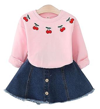 c93199858 Ozkiz Little Girls Clothing Sets Tops+Short Skirts Kids Toddler Girls 2  Pieces Dress Sets